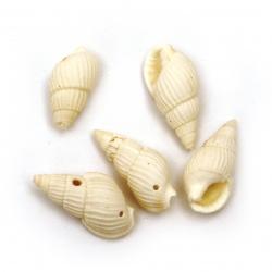 Морски раковини 21~25x11~15x10~11 мм дупка 1 мм цвят бял ~50 грама