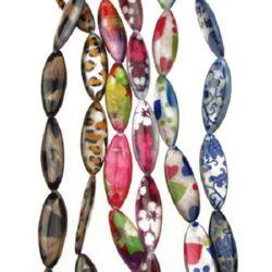Șirag de mărgele plate ovale, sidef, cu model tipărit asortat 30x10x4 mm orificiu 1 mm ~ 13 bucăți