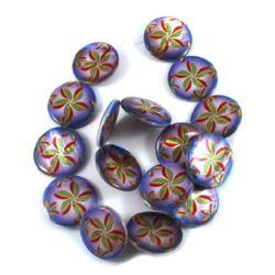 Χάντρες στρόγγυλες πλακέ από σεντέφι 25x3 mm τρύπα 1 mm με σχέδιο λουλουδιών ~ 16 τεμάχια περασμένα σε σειρά/κορδόνι