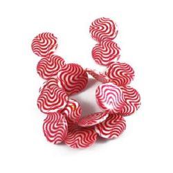 Χάντρες στρόγγυλες πλακέ από σεντέφι 25x3 mm τρύπα 1 mm με σχέδιο λευκό / κόκκινο ~ 16 τεμάχια περασμένα σε σειρά/κορδόνι