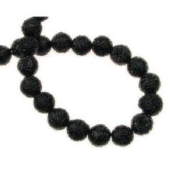 Наниз мъниста полускъпоценен камък КОРАЛ черен гравиран синтетичен топче 8 мм ~50 броя