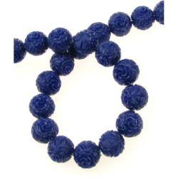 Наниз мъниста полускъпоценен камък КОРАЛ син гравиран синтетичен топче 12 мм ~30 броя