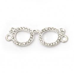 Element de legătură metal aliaj de zinc cu ochelari de cristal 37,5x11,5x3,5 mm gaură  2 mm culoare argintiu