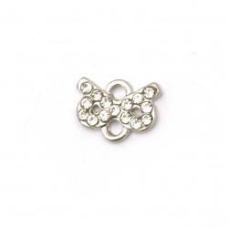 Element de legătură metal aliaj de zinc cu cristale panglică 12x9,5x2 mm gaură 2 mm culoare argintiu -5 bucăți