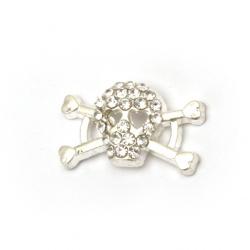 Свързващ елемент метал цинкова сплав с кристали череп 18x10x4 мм дупка 2 мм цвят сребро -2 броя