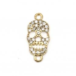 Свързващ елемент метал цинкова сплав с кристали череп 29x14x2.5 мм дупка 1.5 мм цвят злато