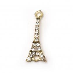 Element de legătură metal aliaj de zinc cu cristale Turn Eiffel gaură 30x12x3 mm 2 mm culoare aur -2 bucăți