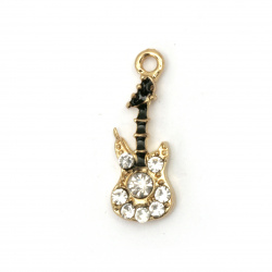 Metal pendant guitar zinc alloy with crystals 23x9x4 mm hole 1.5 mm color gold
