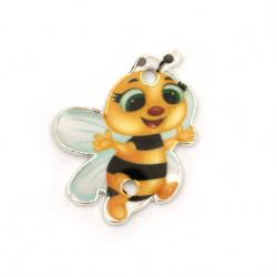 Свързващ елемент метал пчеличка 24x19x1.5 мм дупка 2 мм цветна - 2 броя