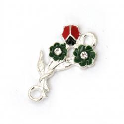 Σύνδεσμος  μεταλλικός λουλούδι με πασχαλίτσα και στρας 22x12x3 mm τρύπα 2 mm χρώμα ασημί -2 τεμάχια
