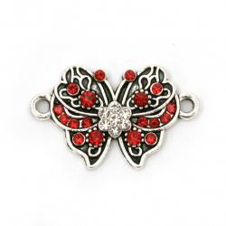 Element de legătură metalic cu cristale roșii fluture 25x15x3 mm gaură 2 mm culoare argintiu -2 bucăți