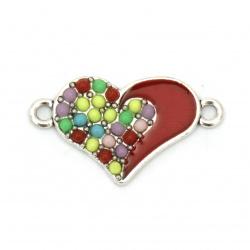 Element de legătură metal inimă roșu 25x14x2 mm orificiu 2 mm culoare argintiu -2 bucăți