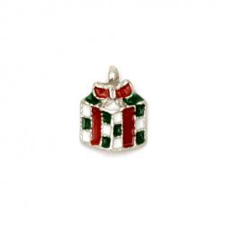 Висулка метална Коледен подарък 14x10x3 мм дупка 1 мм цвят сребро -2 броя