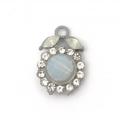 Висулка метал цинкова сплав с кристали цвете 20x14x10 мм дупка 2 мм цвят сив