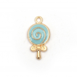 Pendant metal zinc alloy lollipop blue 18x9x2.5 mm hole 1.5 mm color gold - 2 pieces