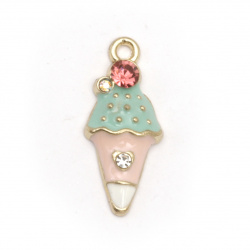 Pendant metal zinc alloy with crystals ice cream blue 23x10x4 mm hole 1.5 mm color gold - 2 pieces