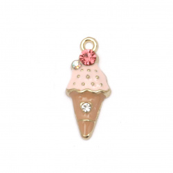 Baby neclace metal pendant zinc alloy with crystals ice cream pink 23x10x4 mm hole 1.5 mm color gold - 2 pieces