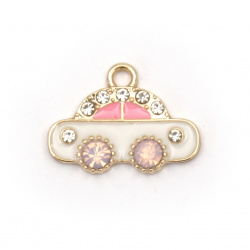 Pendant metal zinc alloy with crystal car 19x14.5x1.5 mm hole 1.5 mm color gold