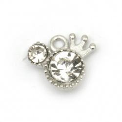 Висулка метал с кристали фигурка 11.5x13x5 мм дупка 2 мм цвят сребро -5 броя