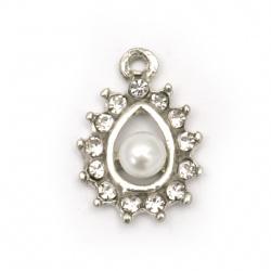 Висулка метал с кристали и перла капка 20x14x6.5 мм дупка 2 мм цвят сребро -2 броя
