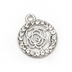 Висулка метал с кристали кръг роза 20x16x2 мм дупка 2 мм цвят сребро -5 броя
