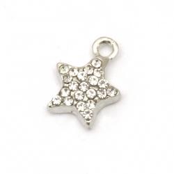 Висулка метал с кристали звезда 14x10.5x4 мм дупка 2 мм цвят сребро -2 броя