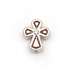 Мънисто метал с кристали кръст червен 11x9x5 мм дупка 1.5 мм цвят сребро -5 броя