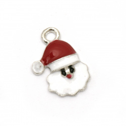 Pendant metal Santa Claus Christmas white and red 18x13x3 mm hole 2 mm color silver - 5 pieces