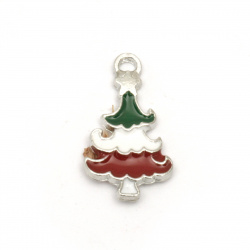 Pendant metal Christmas Tree white, green, red 20x11x1.5 mm hole 2 mm color silver - 5 pieces
