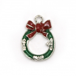 Pendant metal Christmas wreath green and red 18x13x2.5 mm hole 2 mm color silver - 5 pieces