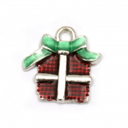 Pendant metal Christmas gift green and red 16x16x2 mm hole 2 mm color silver - 5 pieces