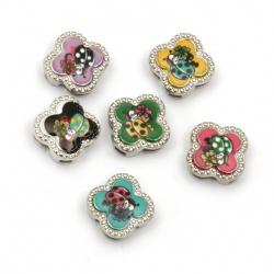 Мънисто метал цвете с калинка цветно 11.5x11.5x5 мм дупки 3 и 9 мм цвят сребро -6 броя