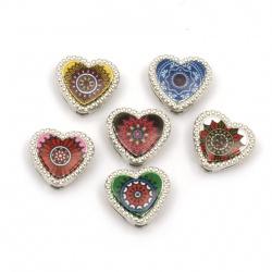 Мънисто метал сърце цветно 12x12x5 мм дупки 3 и 9 мм цвят сребро -6 броя