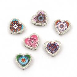 Margele metalica inimă  12x12x5 mm găuri 3 și 9 mm culoare argintiu -6 bucăți