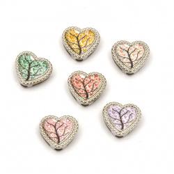 Мънисто метал сърце с дърво цветно 13x12x5 мм дупки 3 и 9 мм цвят сребро -6 броя