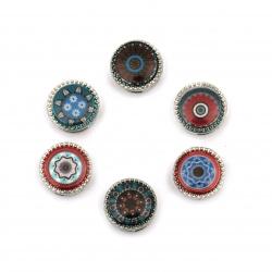 Мънисто метал кръг цветен 13x13x5 мм дупки 3 и 9 мм цвят сребро -6 броя