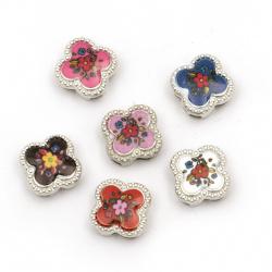 Мънисто метал цвете с цвете цветно 11.5x11.5x5 мм дупки 3 и 9 мм цвят сребро -6 броя