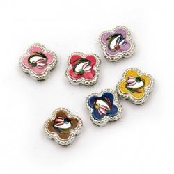 Мънисто метал цвете с кокиче цветно 11.5x11.5x5 мм дупки 3 и 9 мм цвят сребро -6 броя