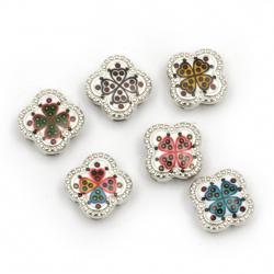 Мънисто метал цвете с детелина цветно 11.5x11.5x5 мм дупки 3 и 9 мм цвят сребро -6 броя