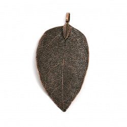 Висулка метална листо 60~70x30~40x1 мм дупка 4x6 мм цвят мед