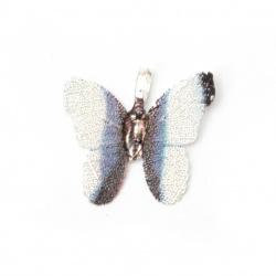 Висулка метална пеперуда 28x31x1 мм дупка 4x6 мм цвят син