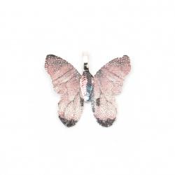 Висулка метална пеперуда 28x31x1 мм дупка 4x6 мм цвят розов