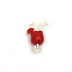 Pendant metal zinc alloy cocktail glass red 16x21x9 mm hole 1.5 mm color silver - 2 pieces