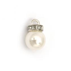 Висулка метал с кристали и перла 23x14 дупка 4 мм цвят сребро -10 броя