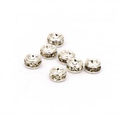 Шайба метал с кристали 3x2 мм дупка 0.2 мм (качество А) цвят бял -10 броя