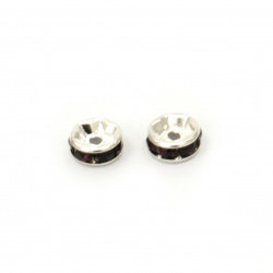 Round metal spacer, washer shape beads with dark purple crystals 6x3 mm hole 1 mm color white - 10 pieces