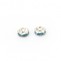 Metal washer beads divider with turquoise crystals zig zag 8x3.5 mm hole 1.5 mm (quality A) color white - 10 pieces