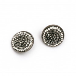 Metal bead with crystals 18x10 mm hole 5 mm adjustable,  graphite color