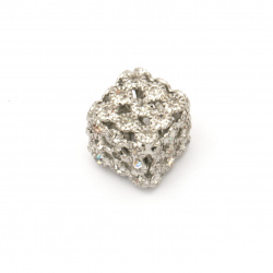 Cube shaped metal bead with sparkling crystals 15 mm hole 1.5 mm color silver