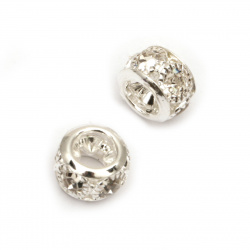 Metal bead with crystals, ball shape for jewelry stringing 11x11x8 mm hole 4.5 mm color silver - 5 pieces